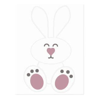 Cute White Bunny Rabbit Postcard