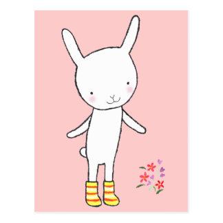 Cute White Bunny Rabbit Yellow Boots Postcard MiKa