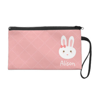 Cute White Bunny with Bow Pink Personalized Pouch