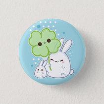 Cute white bunny with kawaii clover button