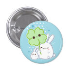 Cute white bunny with kawaii clover 1 inch round button