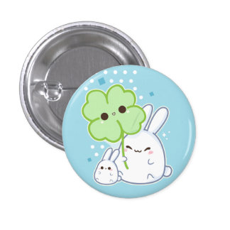 Cute white bunny with kawaii clover button