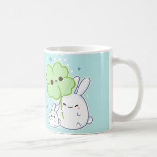 Cute white bunny with kawaii clover coffee mug
