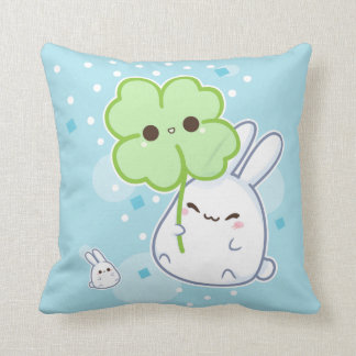 Cute white bunny with kawaii clover pillow