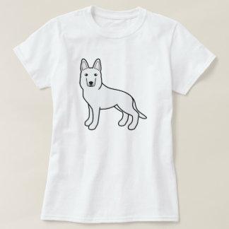 Cute White Cartoon German Shepherd Dog T-Shirt