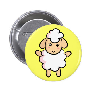 Cute White Cartoon Sheep with Pink Shading Button