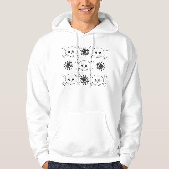 Cute White Cartoon Skulls & Crossbones & Flowers Hoodie