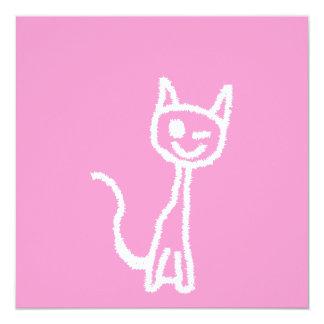 "Cute White Cat. 5.25"" Square Invitation Card"