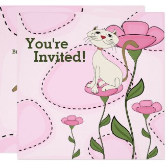 Cute White Cat and Pink Flowers Birthday Invitation