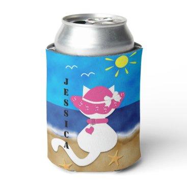 Beach Themed Cute White Cat Beach Theme Pink Bonnet Can Cooler