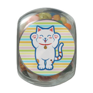 Cute white cat jelly belly candy jar