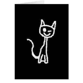Cute White Cat. Card