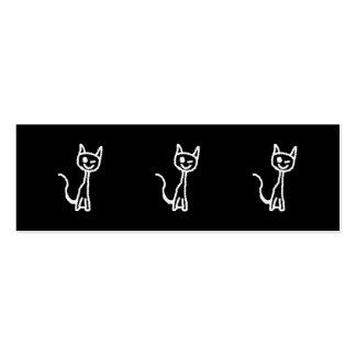 Cute White Cat Cartoon. On Black. Double-Sided Mini Business Cards (Pack Of 20)