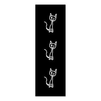 Cute White Cat Cartoon. On Black. Business Card Template