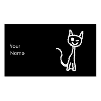 Cute White Cat Cartoon. On Black. Business Card Templates