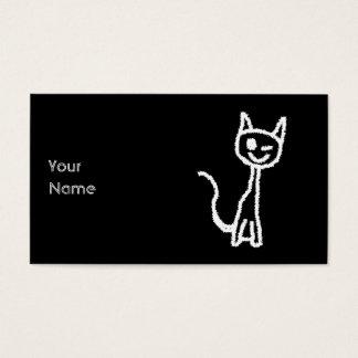 Cute White Cat Cartoon. On Black. Business Card