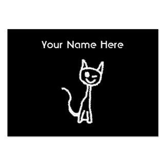 Cute White Cat Cartoon. On Black. Business Cards