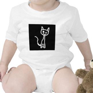 Cute White Cat Cartoon. On Black. Creeper