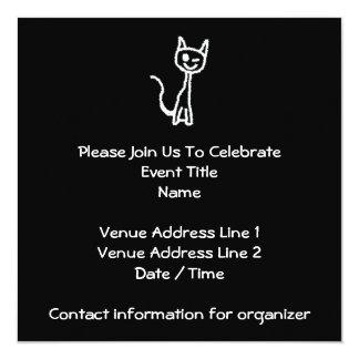 Cute White Cat Cartoon. On Black. Custom Invite