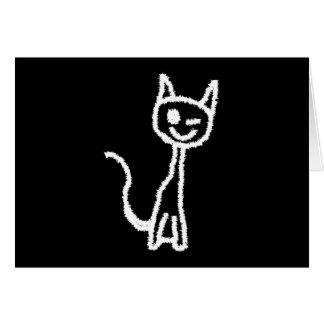 Cute White Cat Cartoon. On Black. Greeting Card