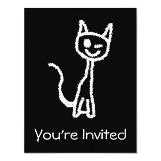 "Cute White Cat Cartoon. On Black. 4.25"" X 5.5"" Invitation Card"