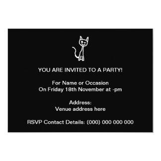 Cute White Cat Cartoon. On Black. 5x7 Paper Invitation Card