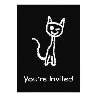 "Cute White Cat Cartoon. On Black. 5"" X 7"" Invitation Card"