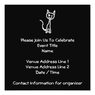 "Cute White Cat Cartoon. On Black. 5.25"" Square Invitation Card"