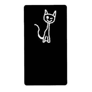 Cute White Cat Cartoon. On Black. Custom Shipping Labels