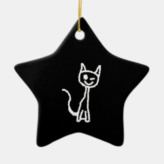 Cute White Cat Cartoon. On Black. Christmas Tree Ornament