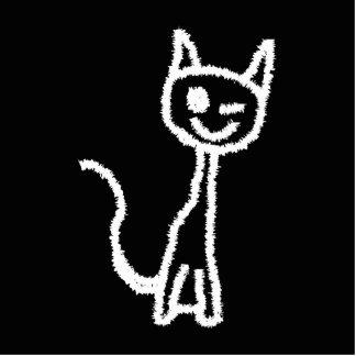 Cute White Cat Cartoon. On Black. Photo Sculpture