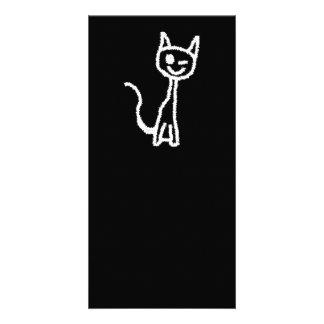 Cute White Cat Cartoon. On Black. Customized Photo Card