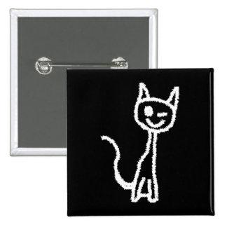 Cute White Cat Cartoon. On Black. Pinback Button