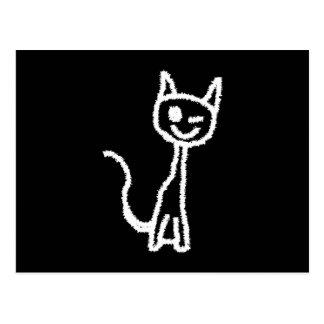 Cute White Cat Cartoon. On Black. Post Card
