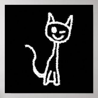 Cute White Cat Cartoon. On Black. Poster