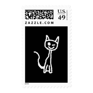 Cute White Cat Cartoon. On Black. Stamps