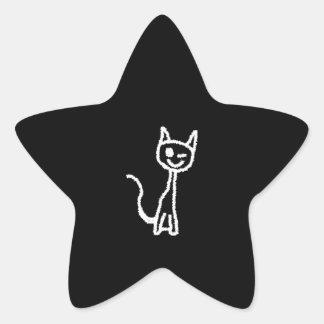 Cute White Cat Cartoon. On Black. Star Sticker
