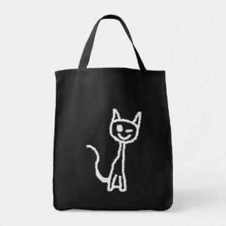 Cute White Cat Cartoon. On Black. Tote Bags