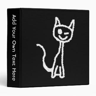 Cute White Cat Cartoon. On Black. Vinyl Binders