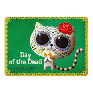 Cute White Cat Dia de Los Muertos Party Invittion Card