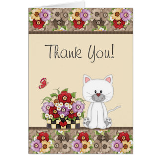 Cute White Cat, Flowers and Butterfly Thank You Card
