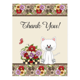 Cute White Cat, Flowers and Butterfly Thank You Postcard