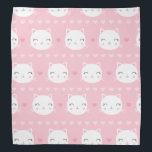 """Cute White Cat Girly Pink Pattern Bandana<br><div class=""""desc"""">Cute White Cat Girly Pink Pattern</div>"""