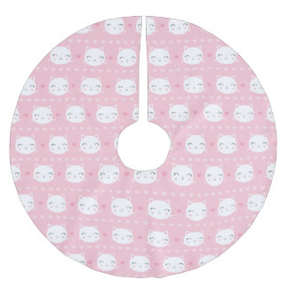 Cute White Cat Girly Pink Pattern Brushed Polyester Tree Skirt