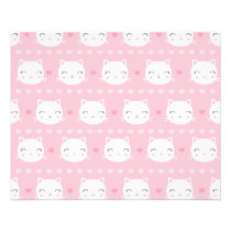 Cute White Cat Girly Pink Pattern Flyer