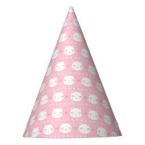 Cute White Cat Girly Pink Pattern Party Hat