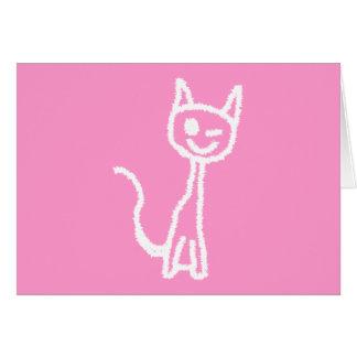 Cute White Cat. Greeting Card