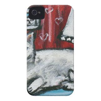 Cute White Cat Love Smile moon iPhone 4 Case-Mate Case