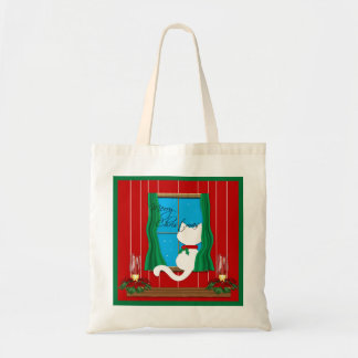 Cute White Cat Merry Christmas  Holiday Tote Bag