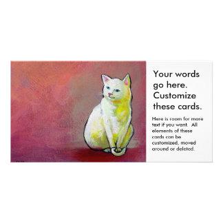 Cute white cat painting fun whimsical original art custom photo card